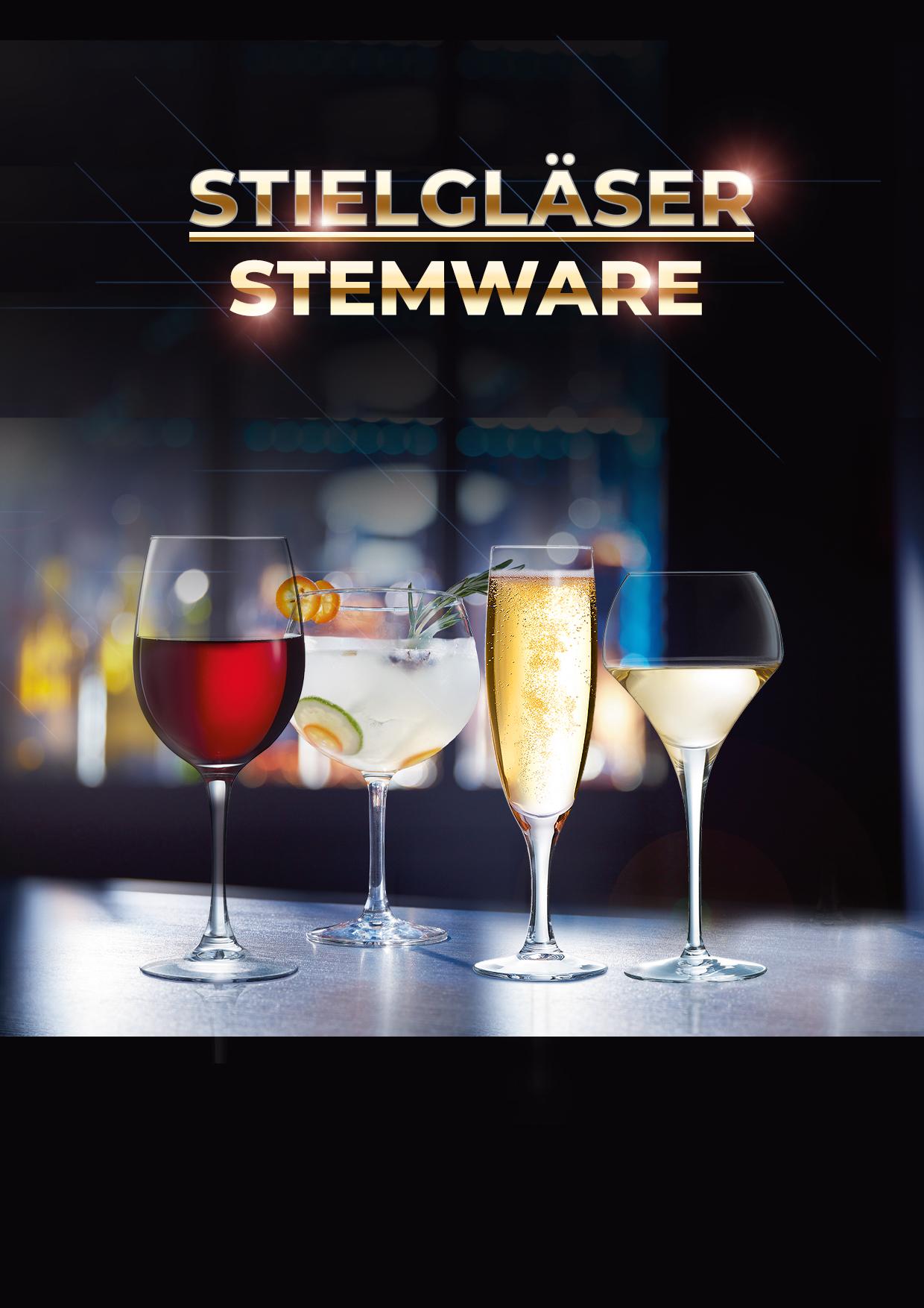 Stielgläser, Stemware, Cocktailglas, Sektglas, Sektflöte, Weinglas