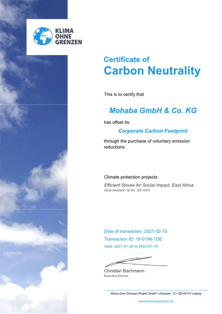 Certificate of carbon neutrality