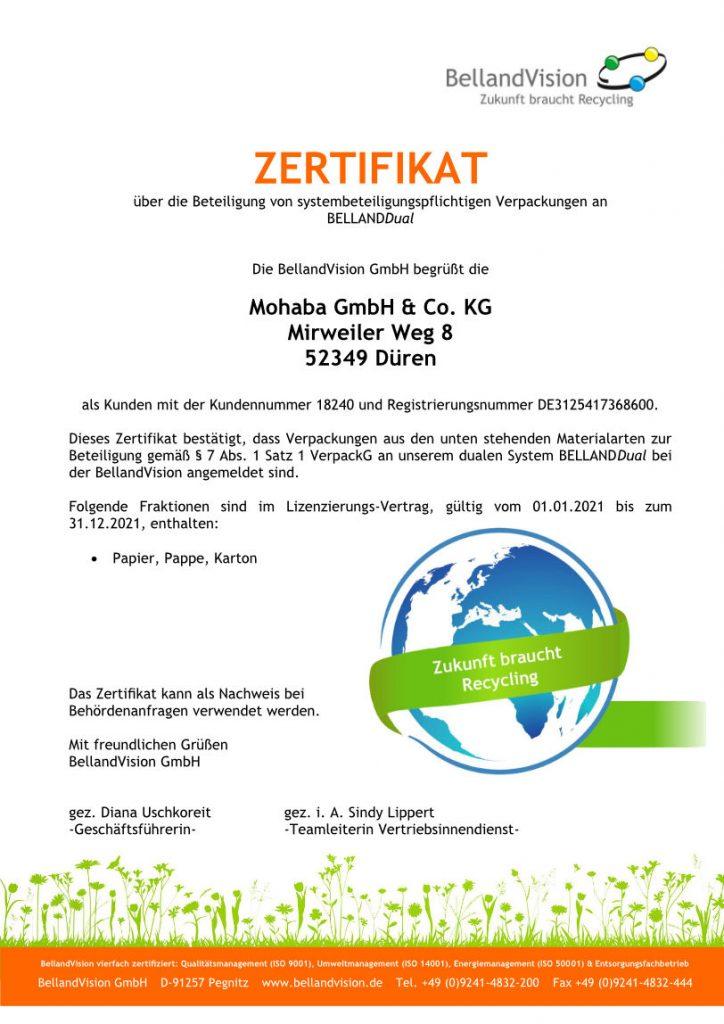 Belland Vision Zertifikat